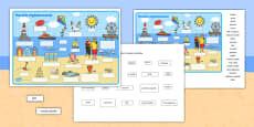 Seaside Scene Labelling Activity Sheet Polish