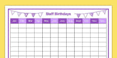 Staff Birthdays Year at a Glance