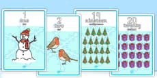 Winter Themed Number Posters 1-20 Words and Numbers Romanian Translation