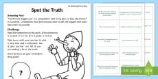 Spot the Truth Activity Sheet