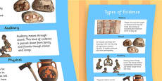 History Types of Evidence Large Display Poster