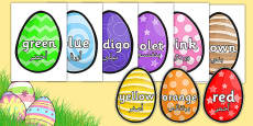 Colour Words on Easter Eggs Arabic Translation