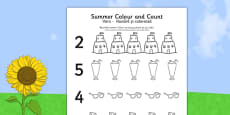 Summer Themed Count and Colour Sheet Romanian Translation