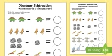 * NEW * Dinosaur Themed Subtraction Sheet English/Polish