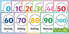 Numbers from 10 to 100 Counting in Tens Display Posters German