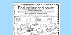 Under the Sea Find Colour and Count Activity Sheet Romanian Translation