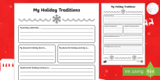 My Holiday Traditions Activity Sheet