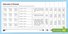Subtraction of Decimals Activity Sheet