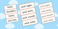 Head Shoulders Knees and Toes Word Cards