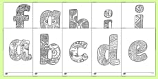 Lower Case Alphabet Mindfulness Patterned Colouring Sheets