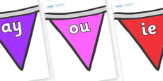 Phase 5 Phonemes on Bunting  (Multicolour)