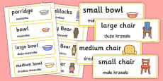 Goldilocks and the Three Bears Word Cards Polish Translation
