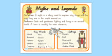Story Genres Myths and Legends Display Poster
