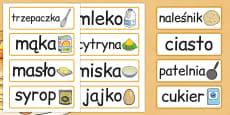 Pancake Day Recipe Word Cards Polish