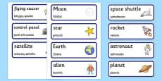 Spaceship Word Cards Polish Translation