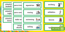 Paralympic Sports Word Cards