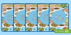 Tarjetas de fonemas - vocales: La comida