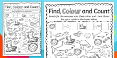 Under the Sea Find, Colour and Count Activity Sheet