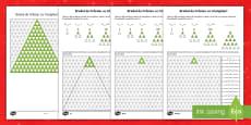 Brazi de Crăciun cu numerele triunghiurilor - Fișe pentru activitate diferențiată