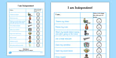 I Am Independent: School Preparation Checklist for Children
