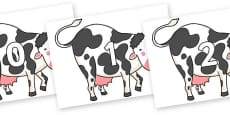 Numbers 0-50 on Hullabaloo Cow to Support Teaching on Farmyard Hullabaloo