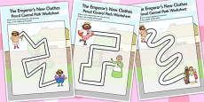 The Emperor's New Clothes Pencil Control Path Worksheets