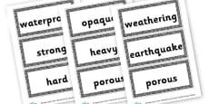 Rocks Word Cards