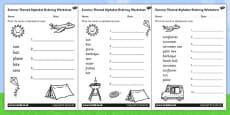 Summer Differentiated Alphabet Ordering Activity Sheet