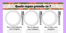 Meal Time Writing Templates French