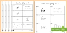 Learn Your New Zealand Essential Spelling List 2 Words Activity Sheets