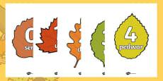 Posteri Rhifau 0 i 20 ar Ddail Yr Hydref