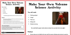 Make Your Own Volcano Science Activity