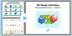 3D Shapes PowerPoint Activity Pack English/Polish