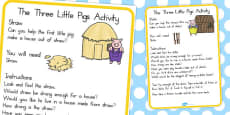 Australia - The Three Little Pigs Materials Activity Cards
