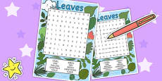 Leaves Wordsearch