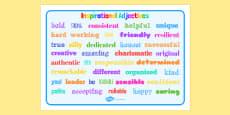 Inspirational Adjective Words Word Mat