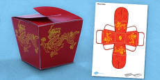 Chinese Gift Box Net Template