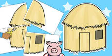 The Three Little Pigs Large A2 Straw House Cut Out