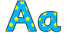 Blue And Yellow Stars A4 Display Lettering