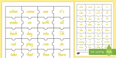 Yellow Reading Sight Words Jigsaw Puzzle