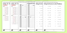 KS1 Arithmetic Content Practice Activity Sheet Pack Using the Inverse to Solve Problems