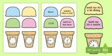 Telling the Time Ice Cream Cone Word and Picture Matching Activity Sheet Gaeilge