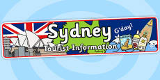 Sydney Tourist Information Role Play Banner