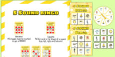 s Sound Bingo Game with Spinner