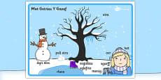 Winter Scene Word Mat Welsh Translation