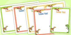 Dinosaur Themed Birthday Party Thank You Cards