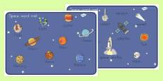 Space Word Mat - Australia