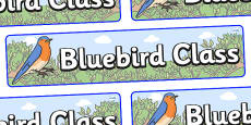 Bluebird Themed Classroom Display Banner