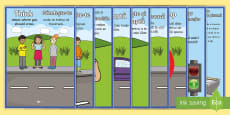 Road Crossing Safety Display Posters Romanian/English