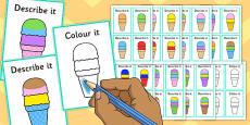 Describe It Colour It Ice Cream Game